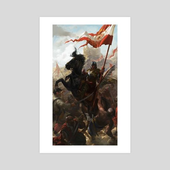 Polish Winged Hussar Bannerman  by Piotr Arendzikowski