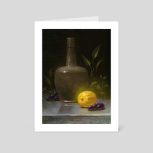 Green Bottle and Lemon - Art Card by Paul Abrams