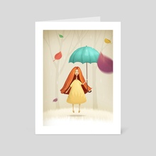 Girl  jumping with umbrella in autumn - Art Card by Olga Yatsenko