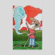 Snake Boy and His Peculiar Water Hose - Canvas by Michael Calderon