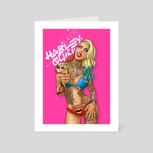 Harley Goes to the Beach - Art Card by Ephrem Rokk