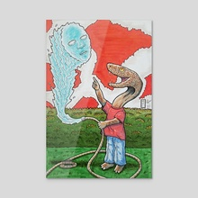 Snake Boy and His Peculiar Water Hose - Acrylic by Michael Calderon