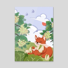 lovely fox - Acrylic by peli wang