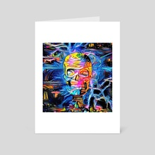 Skull surrounded by magic lights - Art Card by Bruce Rolff