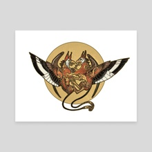 Golden Griffins - Canvas by Melinda Vass