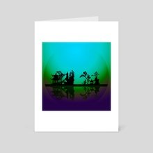 Asian Night Silhouettes - Art Card by Bruce Rolff
