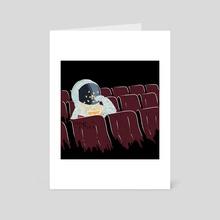 Astronaut Watching a Movie - Art Card by Ziad Alhaddad