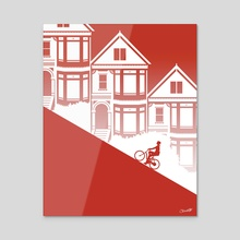 Biking in San Francisco: Painted Ladies - Acrylic by Chris Cerrato
