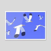 Seagulls Part 2 - Acrylic by Leonard Furuberg