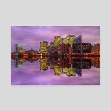 Canary Wharf Reflection - Canvas by Michael Walsh