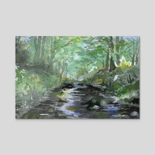 Forest Stream - Acrylic by Tess Myers