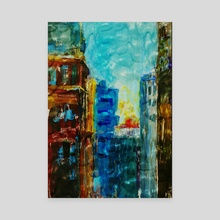 Old City Sky Scrapers - Canvas by Vidka Art