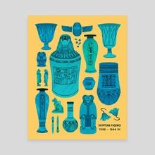 Egyptian Faience Pottery - Canvas by Flora Kirk