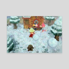 Animal Crossing: New Horizons Winter Snowman Rolling Impressionist Painting - Canvas by Bridget Garofalo