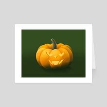 Halloween Flame Pumpkin - Art Card by Dzhenyo Dzhenev