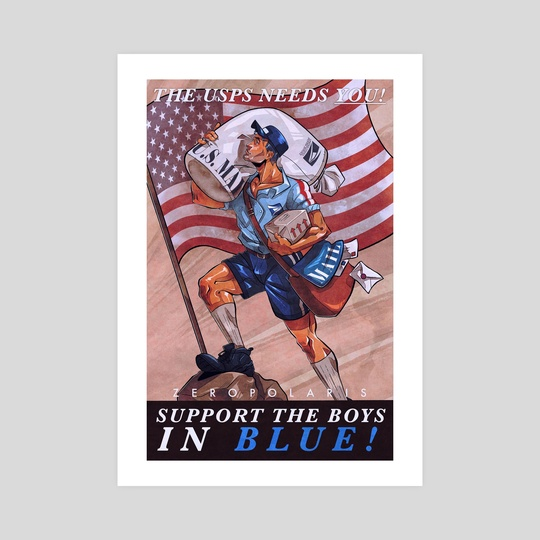 Support the Boys in Blue! USPS Support Poster by Roan Adognravi