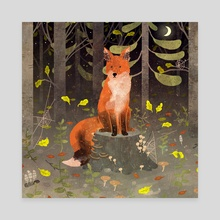 fox in the night forest - Canvas by Lara Paulussen