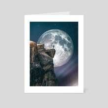 Man In Front Of Big Moon - Art Card by 016 Graphics