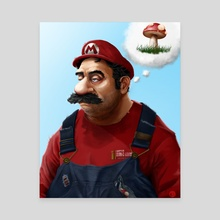 The Real Super Mario - Canvas by Tom Velez