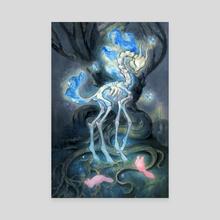 Blue deer - Canvas by yukari masuike