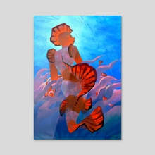clownfish mermaid - Acrylic by Caitlin Soliman