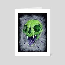 Metallic Green Cat Skull - Art Card by Kat Powell