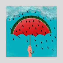 rain watermelon - Canvas by Lucia Calfapietra
