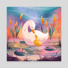 Valentine's Snuggles - Duck and Duckling - Canvas by Ffion Evans
