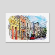 Old Recife, Brazil - Mixed Media - Acrylic by Dreamframer Art