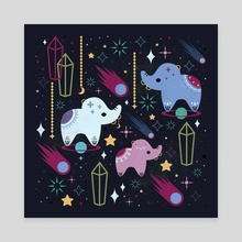 Elephants in Space  - Canvas by Carly Watts