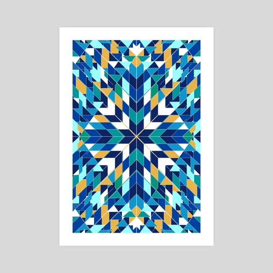 Triangles blue abstract tribal pattern by Mihalis Athanasopoulos