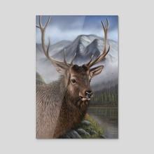 Elk - Acrylic by Richard Macwee