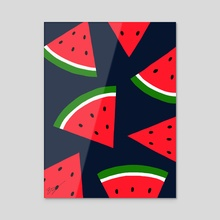 Watermelons - Acrylic by Pineapple Art