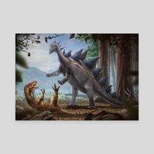 Allosaurus vs. Stegosaurus - Canvas by Sante Mazzei