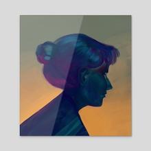 Blue girl - Acrylic by Jonas Genevaz