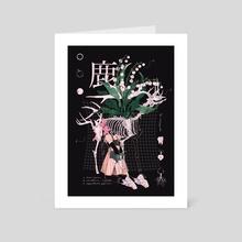 DEER - black - Art Card by mochipanko