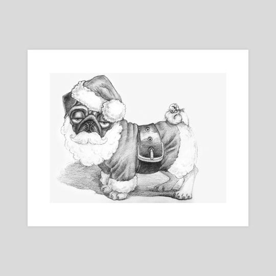 Santa Pug by Amelia Poltoracka