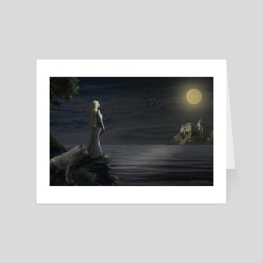 A girl and her white wolf in the moonlight by Dejan Travica