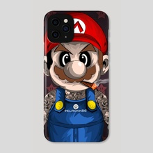 Tattooed Mario - Phone Case by Ephrem Rokk