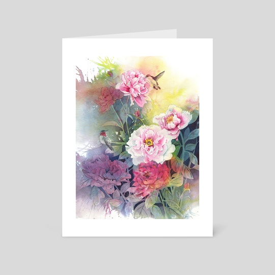 Humming Birds and Peony by Kate W