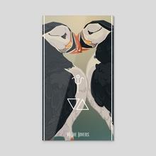 Bird Tarot - The Lovers - Acrylic by Fiona Marchbank