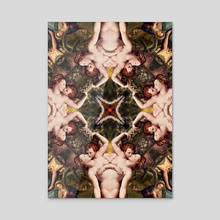 Floral abstract rennaisance pattern with angels kissing2 - Acrylic by Mihalis Athanasopoulos