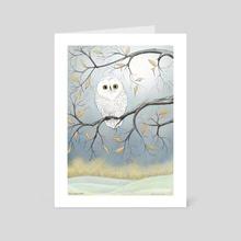 "Snowy Owl, First Frost - Art Card by Leslie ""Wren"" Vandever"