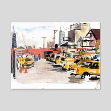 Yellow Garage #4 - Acrylic by Dmitry Samarov