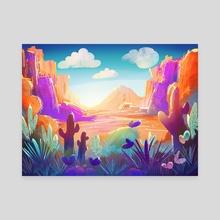 Cacti in the sunny desert - Canvas by Lorini Art