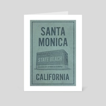 Santa Monica State Beach California Travel Poster - Art Card by John Morris