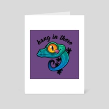 Hang In There Colorful Gecko - Art Card by John Schwegel