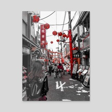 chinatown in red  - Acrylic by Rebecca Martin