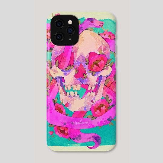 Pink Skull with Snake by Isabella Isla