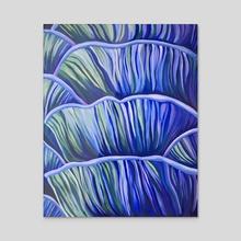 Blue Mushrooms - Acrylic by Kassie Stanley